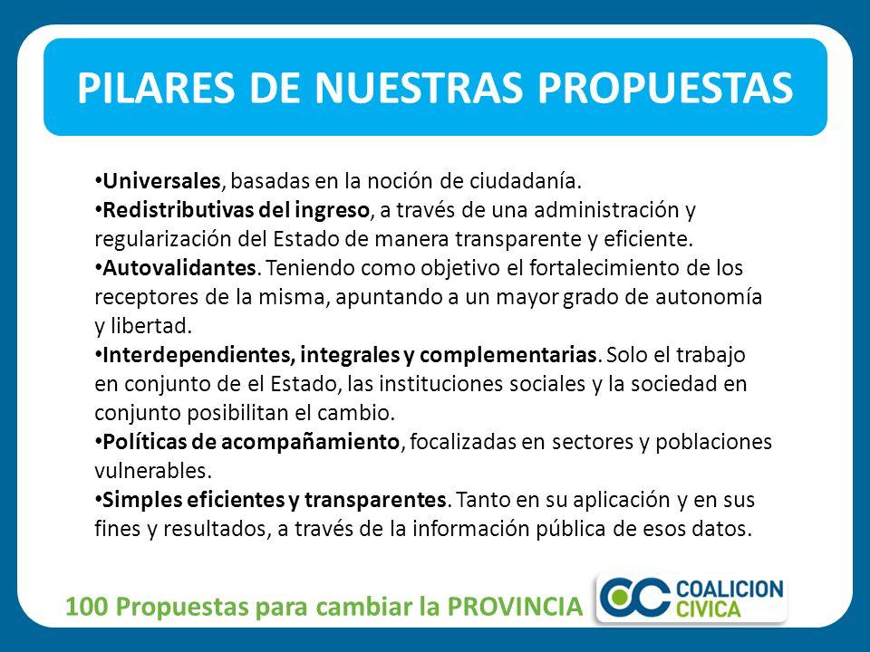 PILARES DE NUESTRAS PROPUESTAS 100 Propuestas para cambiar la PROVINCIA Universales, basadas en la noción de ciudadanía.