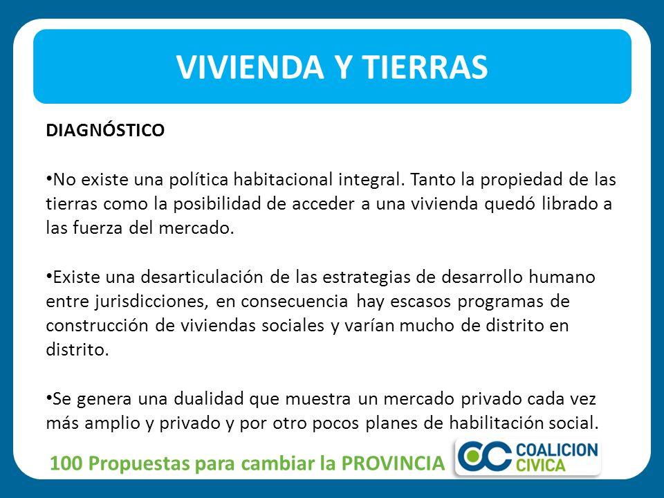 VIVIENDA Y TIERRAS 100 Propuestas para cambiar la PROVINCIA DIAGNÓSTICO No existe una política habitacional integral.
