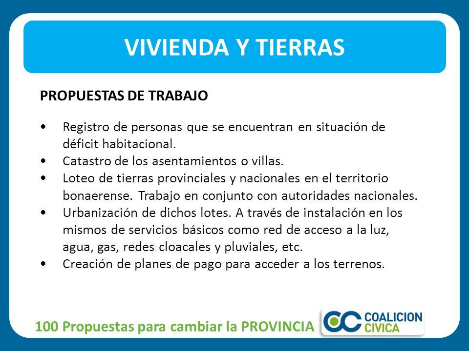100 Propuestas para cambiar la PROVINCIA PROPUESTAS DE TRABAJO Registro de personas que se encuentran en situación de déficit habitacional.