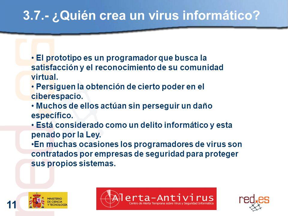11 3.7.- ¿Quién crea un virus informático.