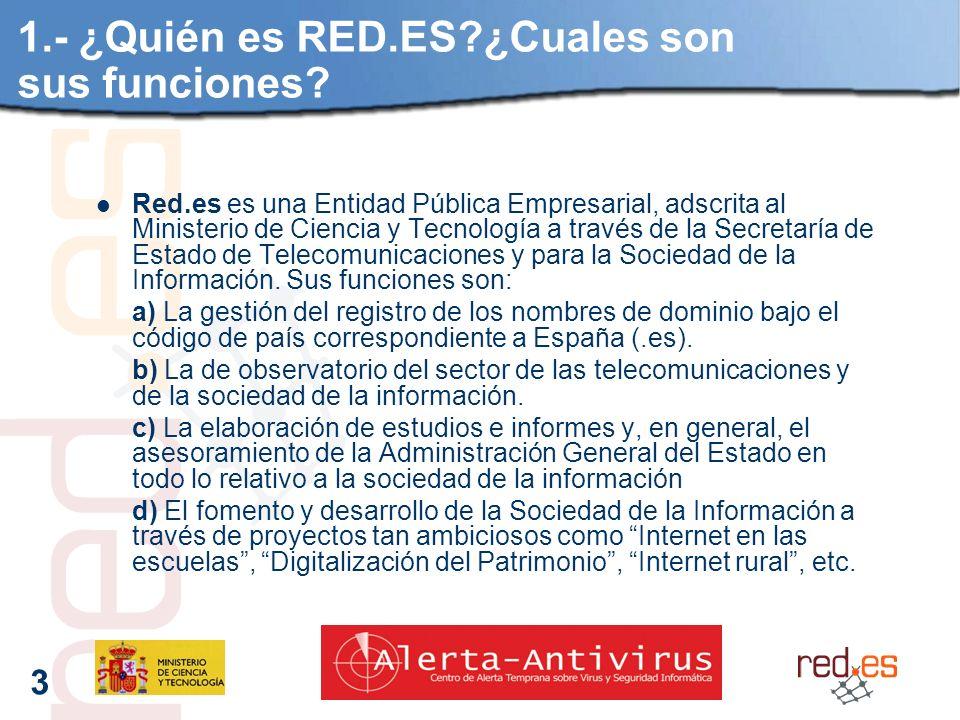 3 1.- ¿Quién es RED.ES?¿Cuales son sus funciones.