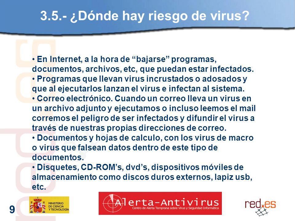 9 3.5.- ¿Dónde hay riesgo de virus.