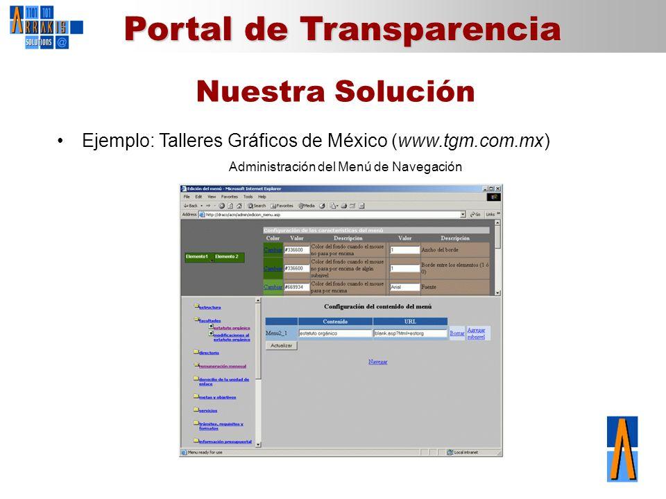 Portal de Transparencia Nuestra Solución Ejemplo: Talleres Gráficos de México (www.tgm.com.mx) Administración del Menú de Navegación
