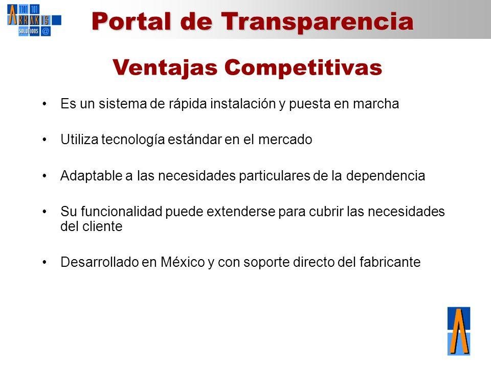 Portal de Transparencia Ventajas Competitivas Es un sistema de rápida instalación y puesta en marcha Utiliza tecnología estándar en el mercado Adaptab