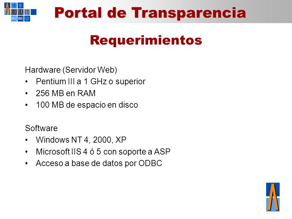 Portal de Transparencia Requerimientos Hardware (Servidor Web) Pentium III a 1 GHz o superior 256 MB en RAM 100 MB de espacio en disco Software Window