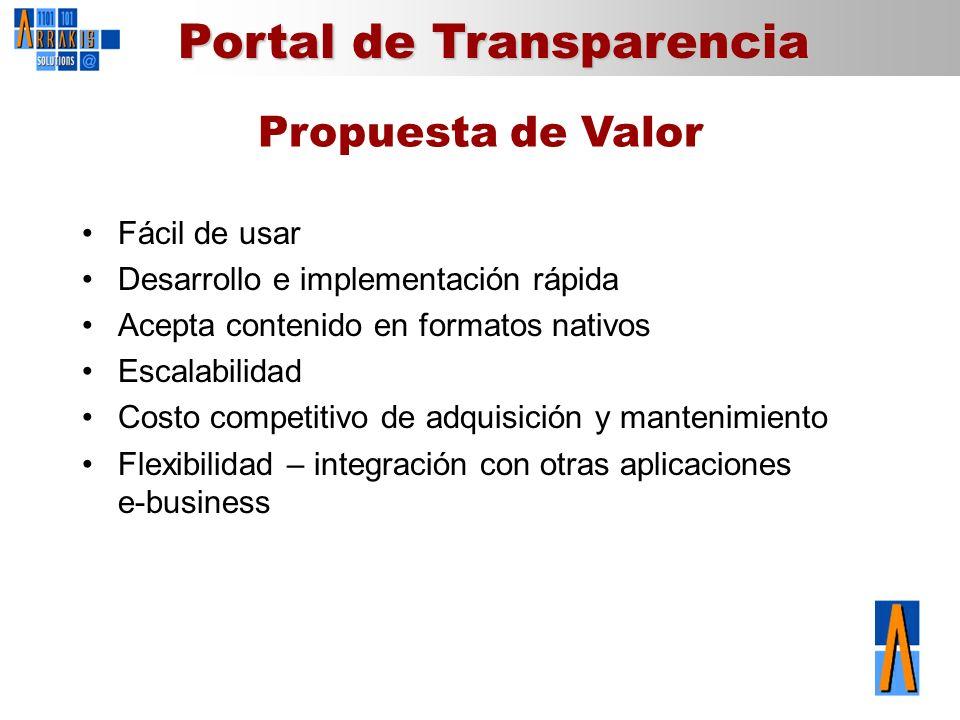 Portal de Transparencia Propuesta de Valor Fácil de usar Desarrollo e implementación rápida Acepta contenido en formatos nativos Escalabilidad Costo c