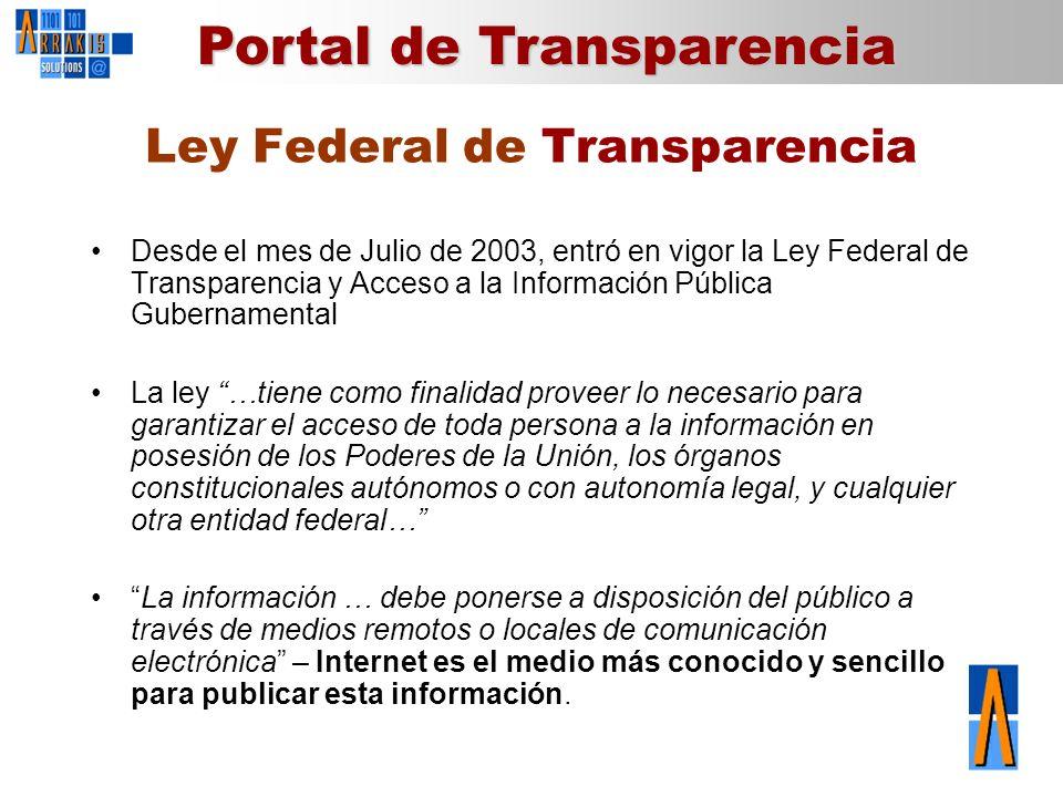 Portal de Transparencia Ley Federal de Transparencia Desde el mes de Julio de 2003, entró en vigor la Ley Federal de Transparencia y Acceso a la Infor