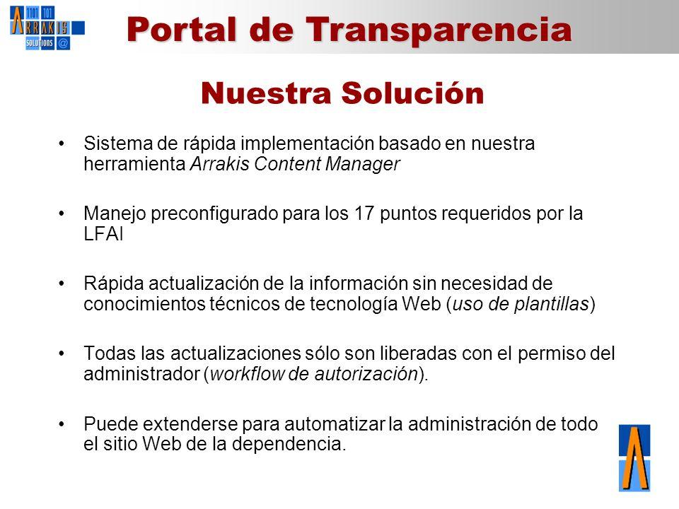 Portal de Transparencia Nuestra Solución Sistema de rápida implementación basado en nuestra herramienta Arrakis Content Manager Manejo preconfigurado