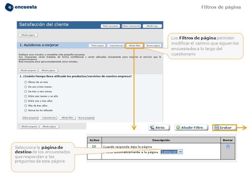 Los Filtros de página permiten modificar el camino que siguen los encuestados a lo largo del cuestionario Seleccione la página de destino de los encue