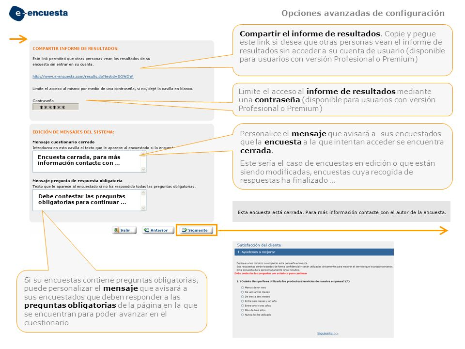 Limite el acceso al informe de resultados mediante una contraseña (disponible para usuarios con versión Profesional o Premium) ****** Compartir el inf