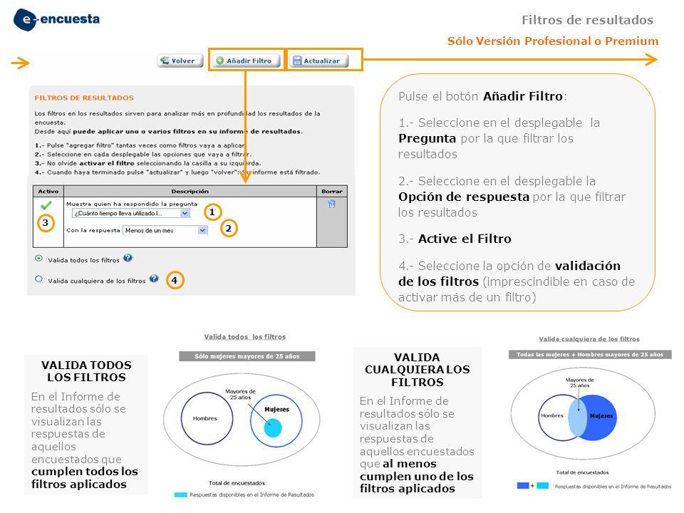 Pulse el botón Añadir Filtro: 1.- Seleccione en el desplegable la Pregunta por la que filtrar los resultados 2.- Seleccione en el desplegable la Opció