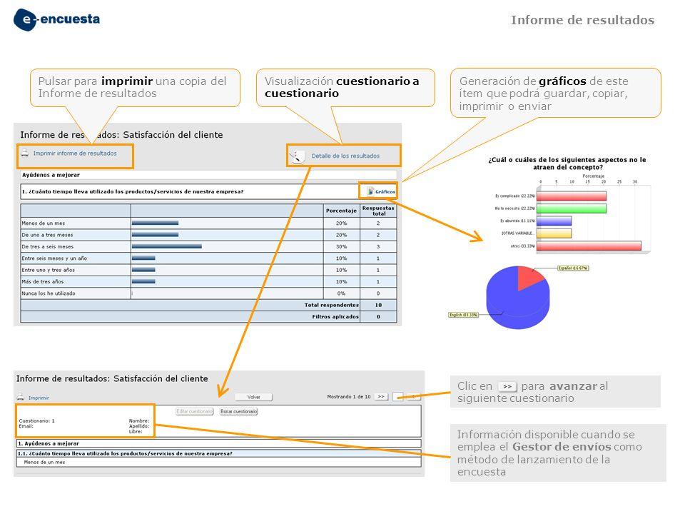 Pulsar para imprimir una copia del Informe de resultados Visualización cuestionario a cuestionario Generación de gráficos de este ítem que podrá guard