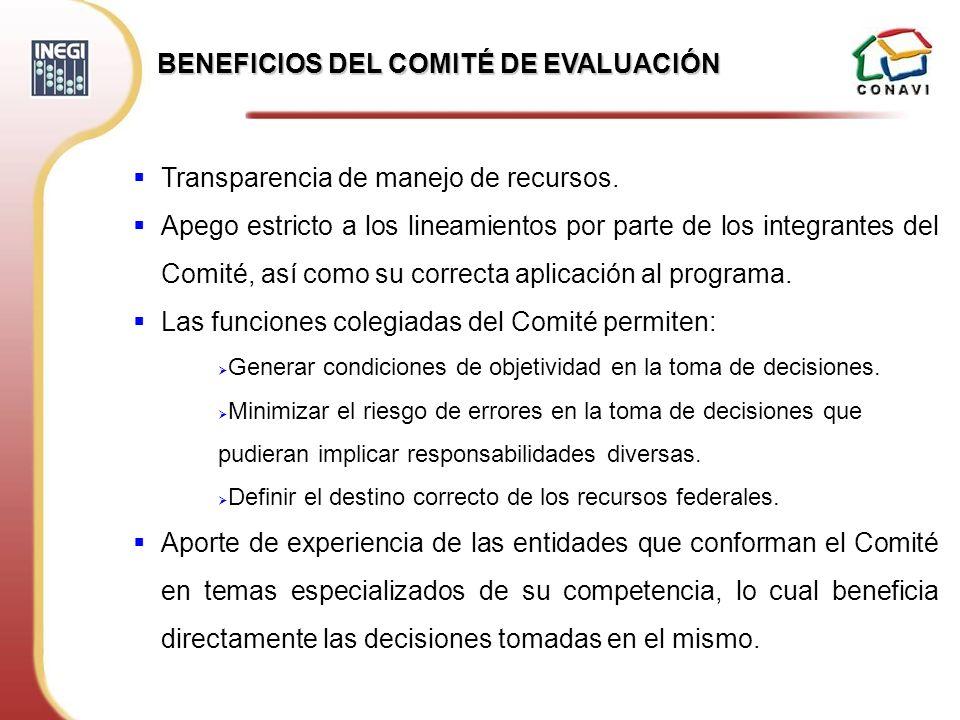 BENEFICIOS DEL COMITÉ DE EVALUACIÓN Transparencia de manejo de recursos. Apego estricto a los lineamientos por parte de los integrantes del Comité, as