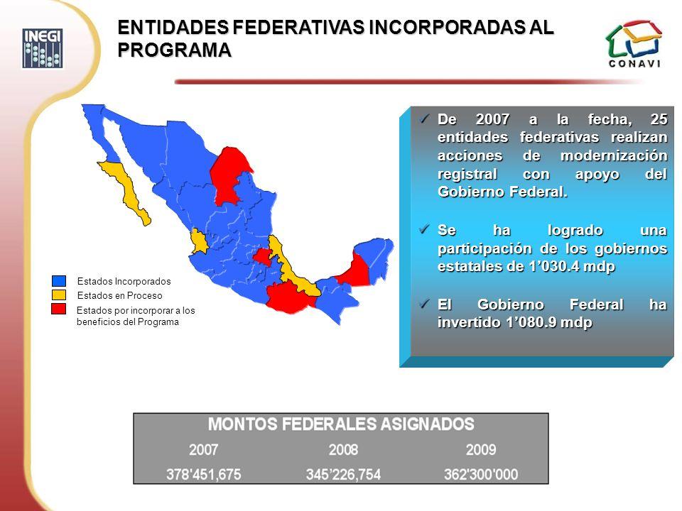ENTIDADES FEDERATIVAS INCORPORADAS AL PROGRAMA De 2007 a la fecha, 25 entidades federativas realizan acciones de modernización registral con apoyo del