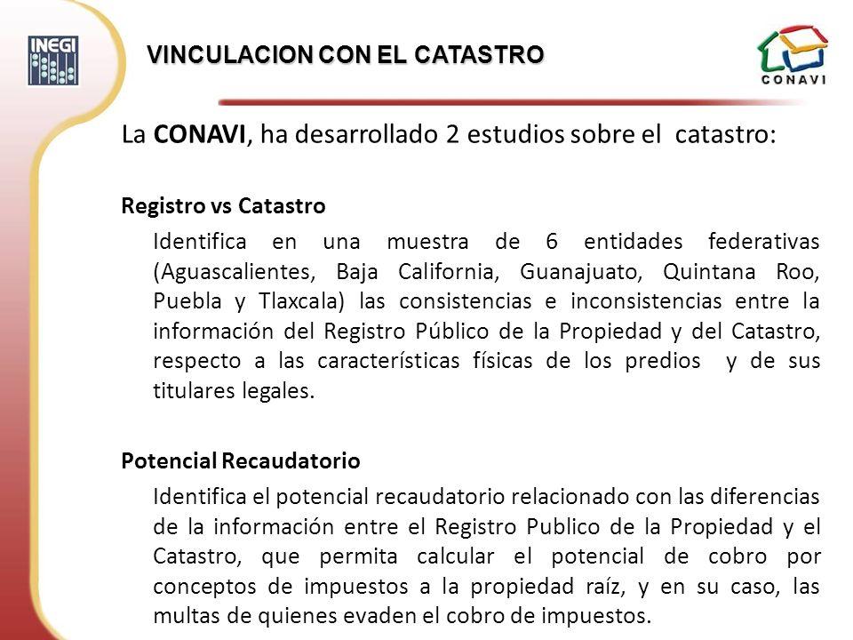 La CONAVI, ha desarrollado 2 estudios sobre el catastro: Registro vs Catastro Identifica en una muestra de 6 entidades federativas (Aguascalientes, Ba