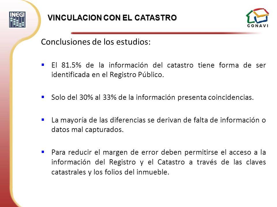 Conclusiones de los estudios: El 81.5% de la información del catastro tiene forma de ser identificada en el Registro Público. Solo del 30% al 33% de l