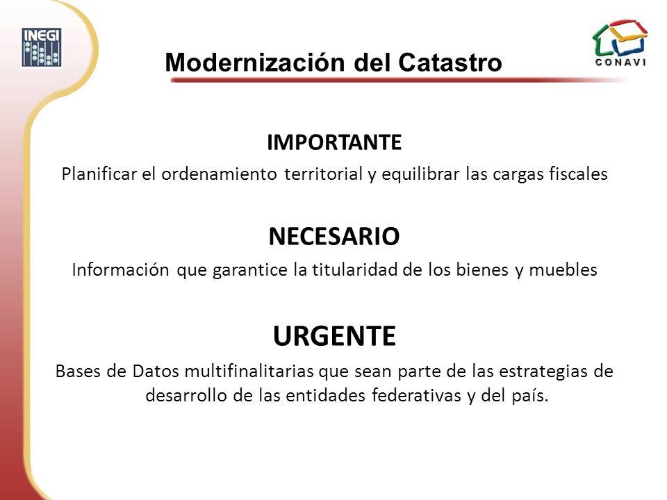 IMPORTANTE Planificar el ordenamiento territorial y equilibrar las cargas fiscales NECESARIO Información que garantice la titularidad de los bienes y