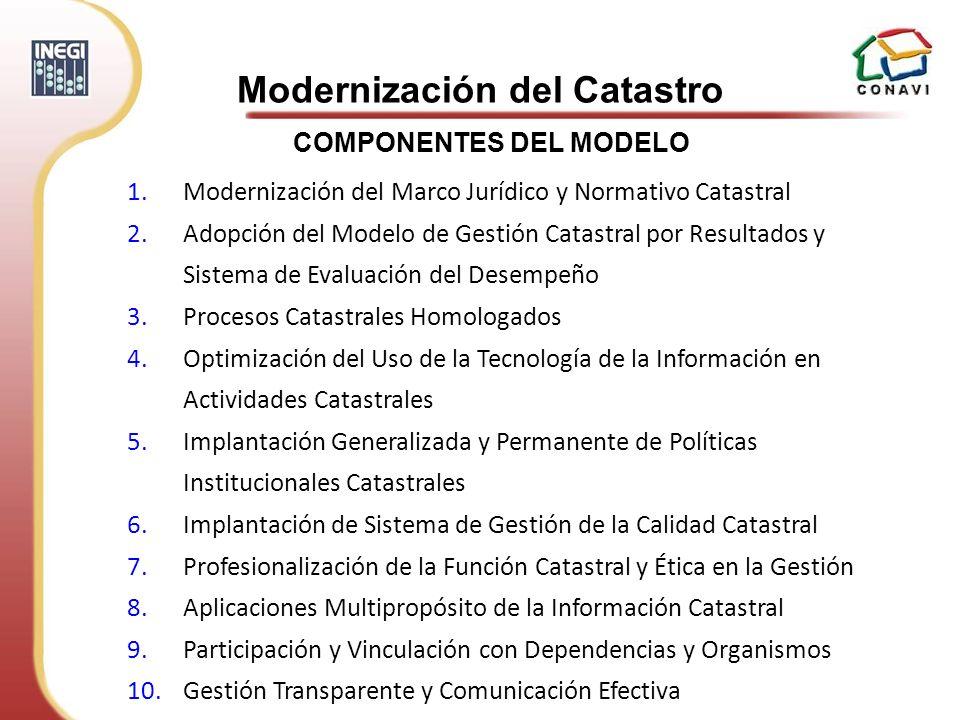 1.Modernización del Marco Jurídico y Normativo Catastral 2.Adopción del Modelo de Gestión Catastral por Resultados y Sistema de Evaluación del Desempe