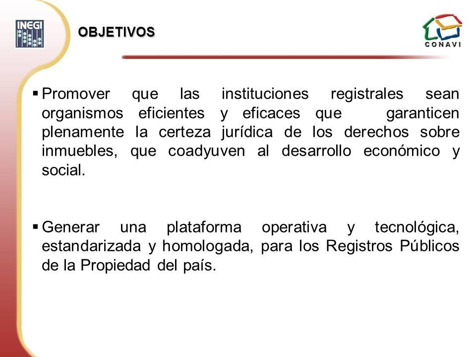 OBJETIVOS Promover que las instituciones registrales sean organismos eficientes y eficaces que garanticen plenamente la certeza jurídica de los derech