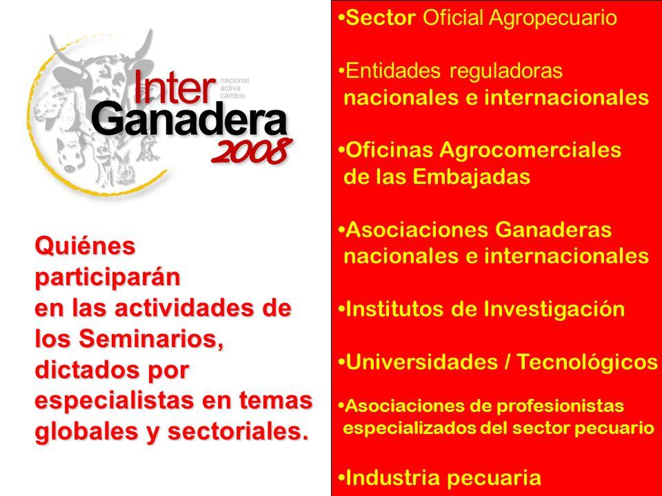 Sector Oficial Agropecuario Entidades reguladoras nacionales e internacionales Oficinas Agrocomerciales de las Embajadas Asociaciones Ganaderas nacion