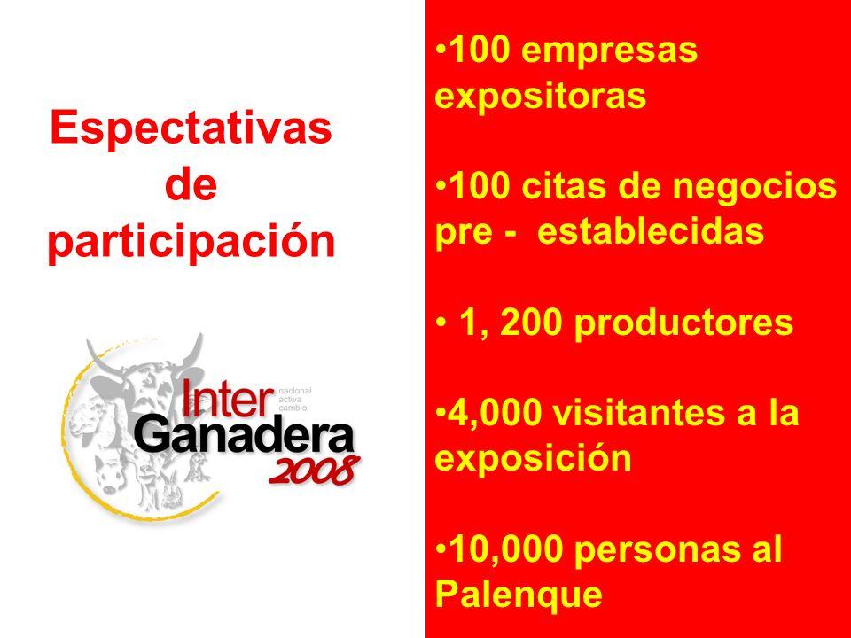100 empresas expositoras 100 citas de negocios pre - establecidas 1, 200 productores 4,000 visitantes a la exposición 10,000 personas al Palenque Espe