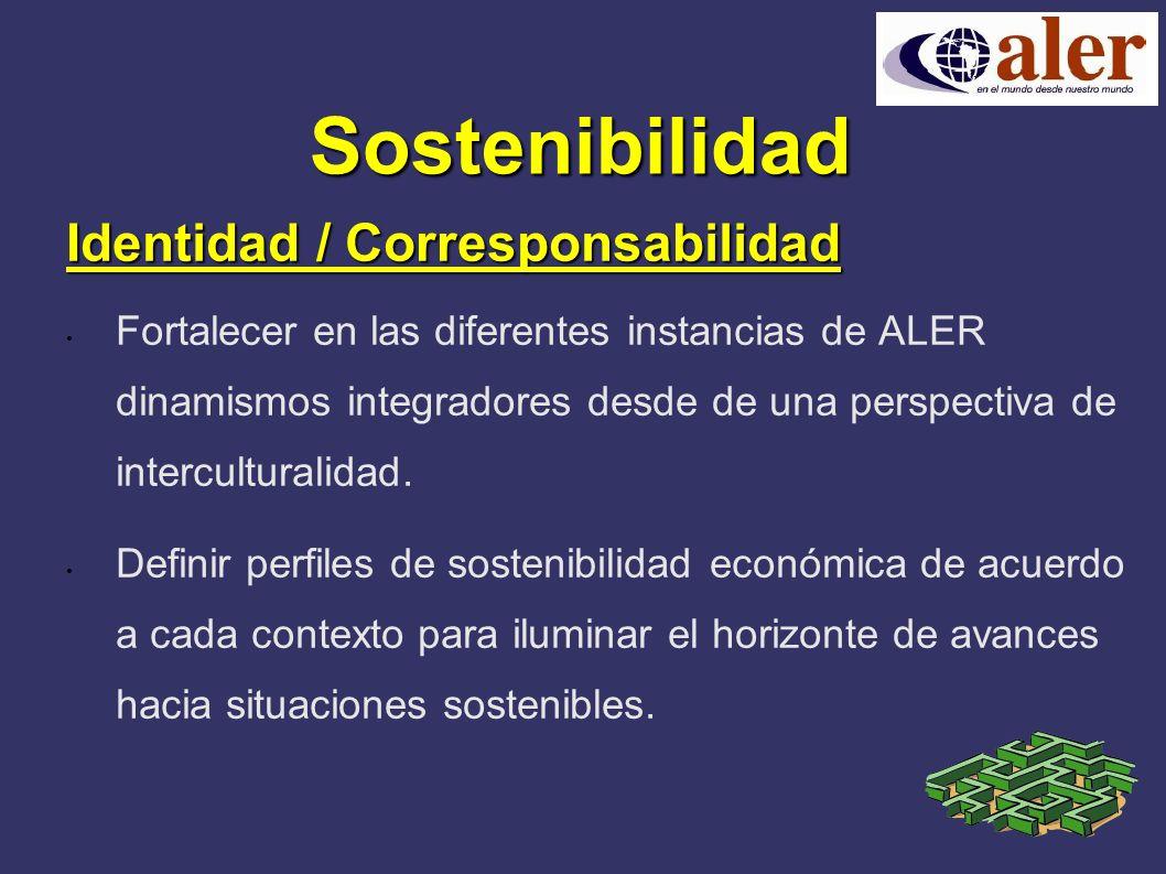 Sostenibilidad Identidad / Corresponsabilidad Fortalecer en las diferentes instancias de ALER dinamismos integradores desde de una perspectiva de interculturalidad.