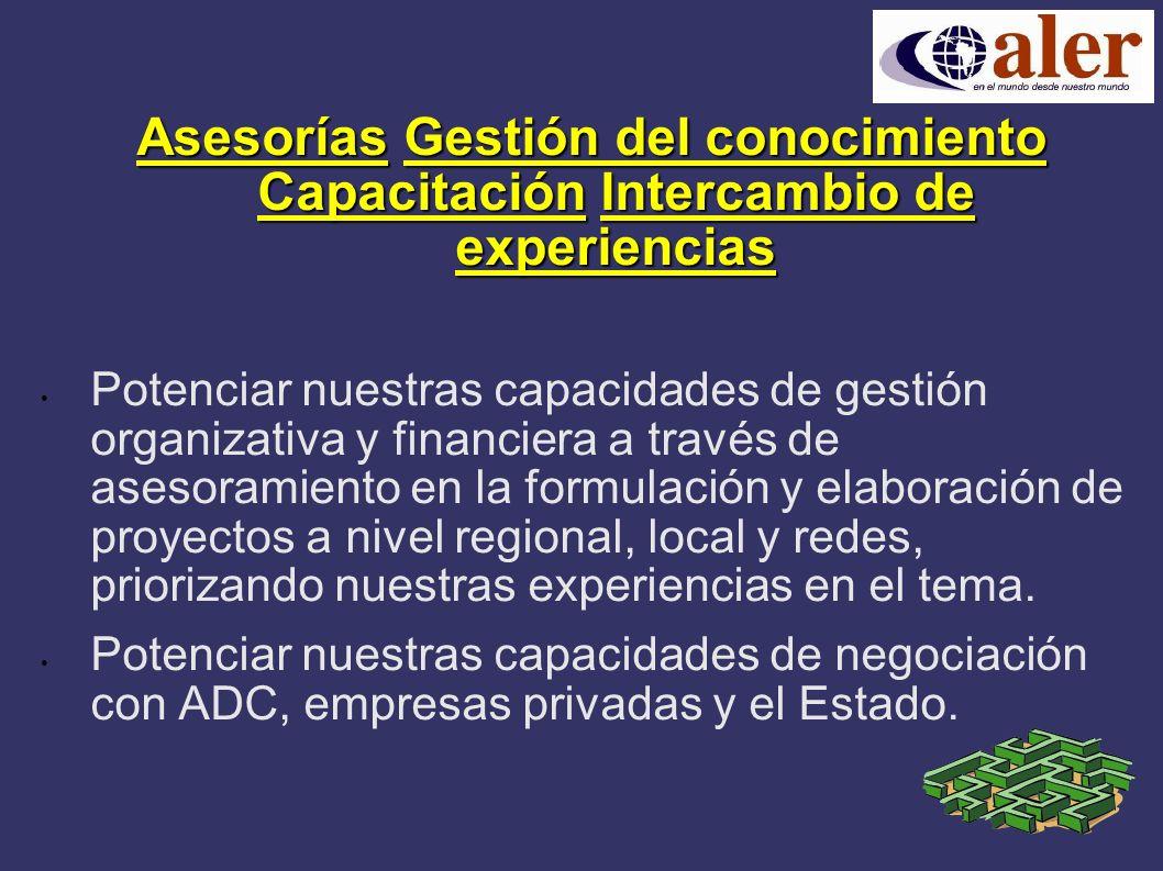 AsesoríasGestión del conocimiento CapacitaciónIntercambio de experiencias Asesorías Gestión del conocimiento Capacitación Intercambio de experiencias Potenciar nuestras capacidades de gestión organizativa y financiera a través de asesoramiento en la formulación y elaboración de proyectos a nivel regional, local y redes, priorizando nuestras experiencias en el tema.