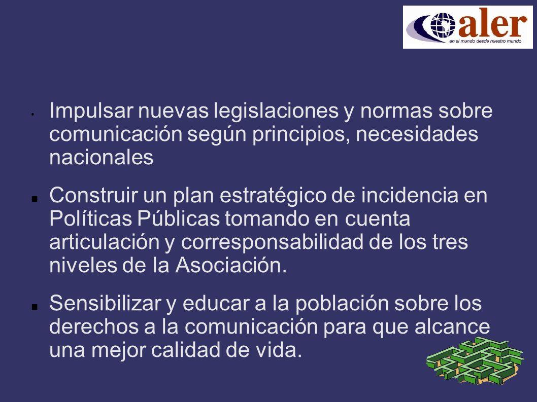 Impulsar nuevas legislaciones y normas sobre comunicación según principios, necesidades nacionales Construir un plan estratégico de incidencia en Políticas Públicas tomando en cuenta articulación y corresponsabilidad de los tres niveles de la Asociación.