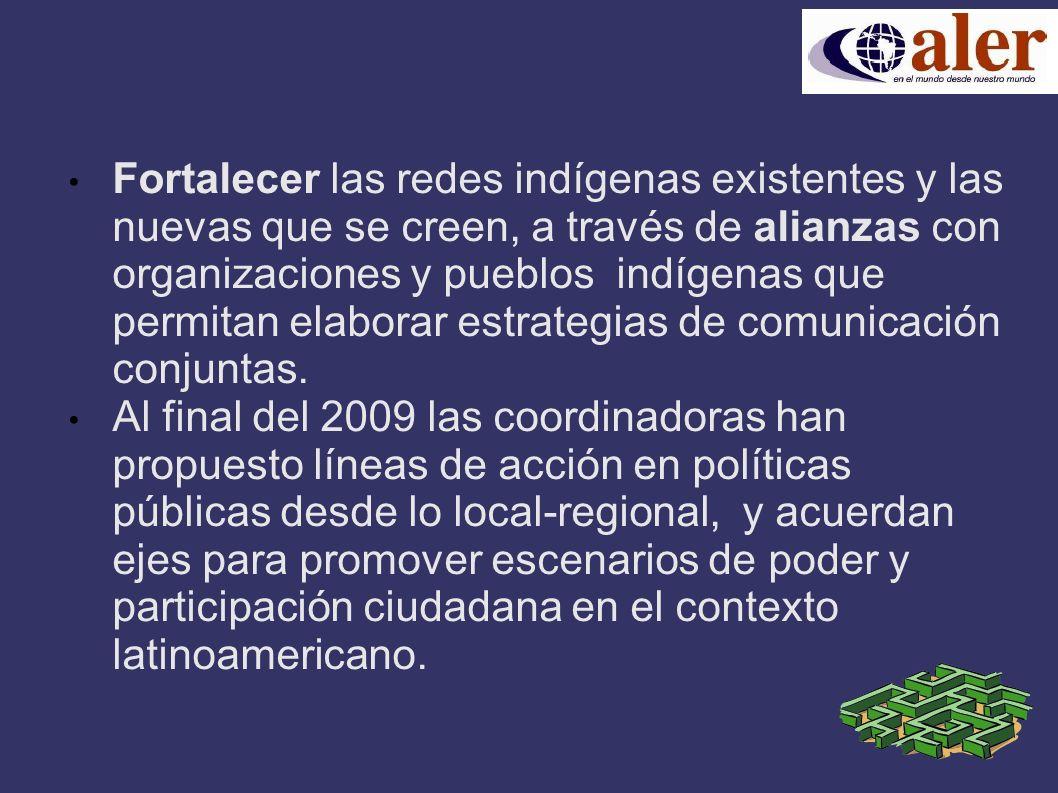 Fortalecer las redes indígenas existentes y las nuevas que se creen, a través de alianzas con organizaciones y pueblos indígenas que permitan elaborar estrategias de comunicación conjuntas.