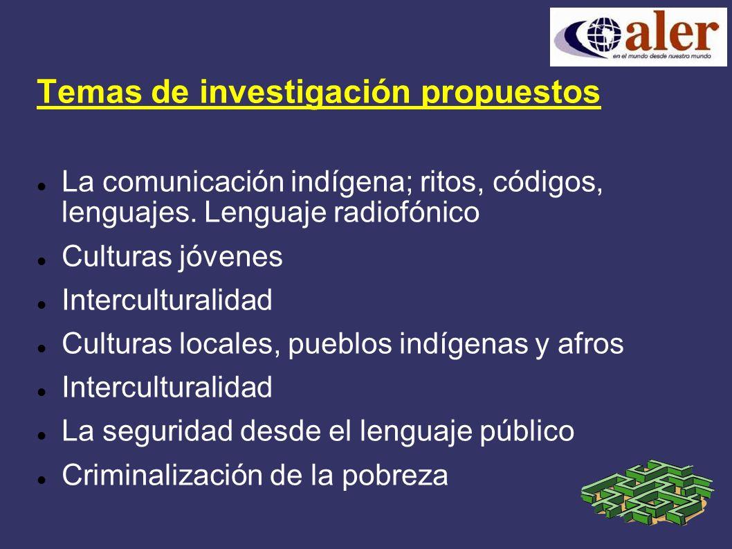 Temas de investigación propuestos La comunicación indígena; ritos, códigos, lenguajes.