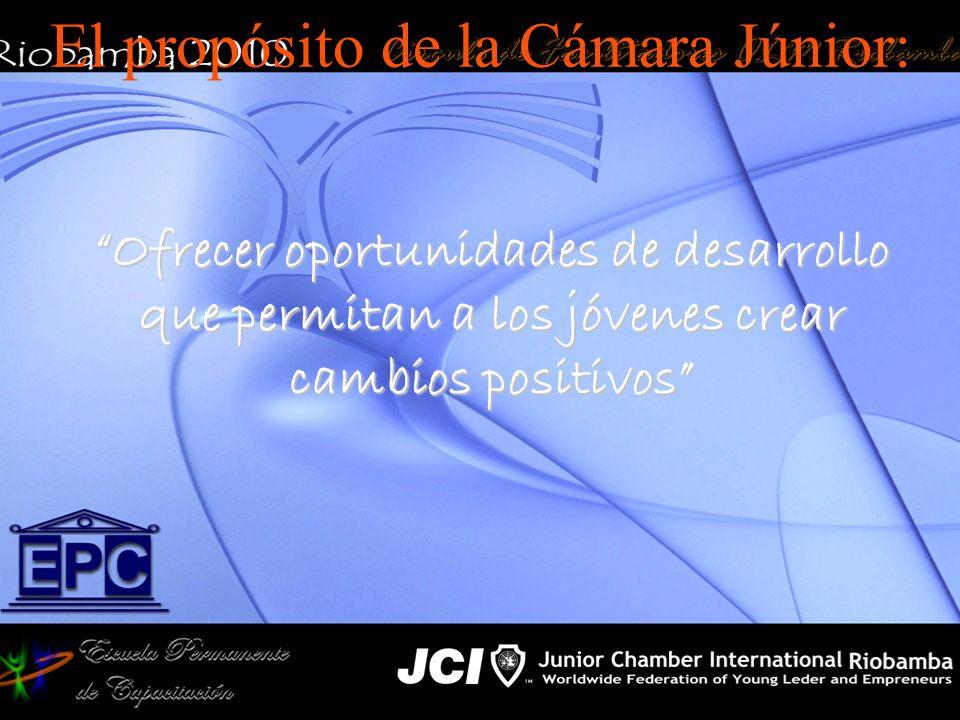 El propósito de la Cámara Júnior: Ofrecer oportunidades de desarrollo que permitan a los jóvenes crear cambios positivos