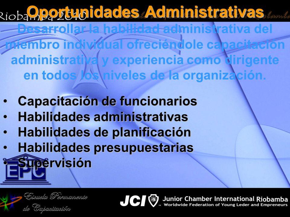 Oportunidades Administrativas Desarrollar la habilidad administrativa del miembro individual ofreciéndole capacitación administrativa y experiencia co