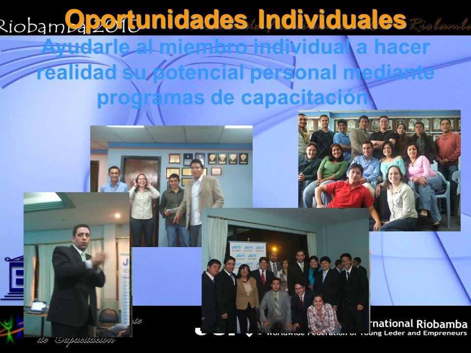 Oportunidades Individuales Ayudarle al miembro individual a hacer realidad su potencial personal mediante programas de capacitación.