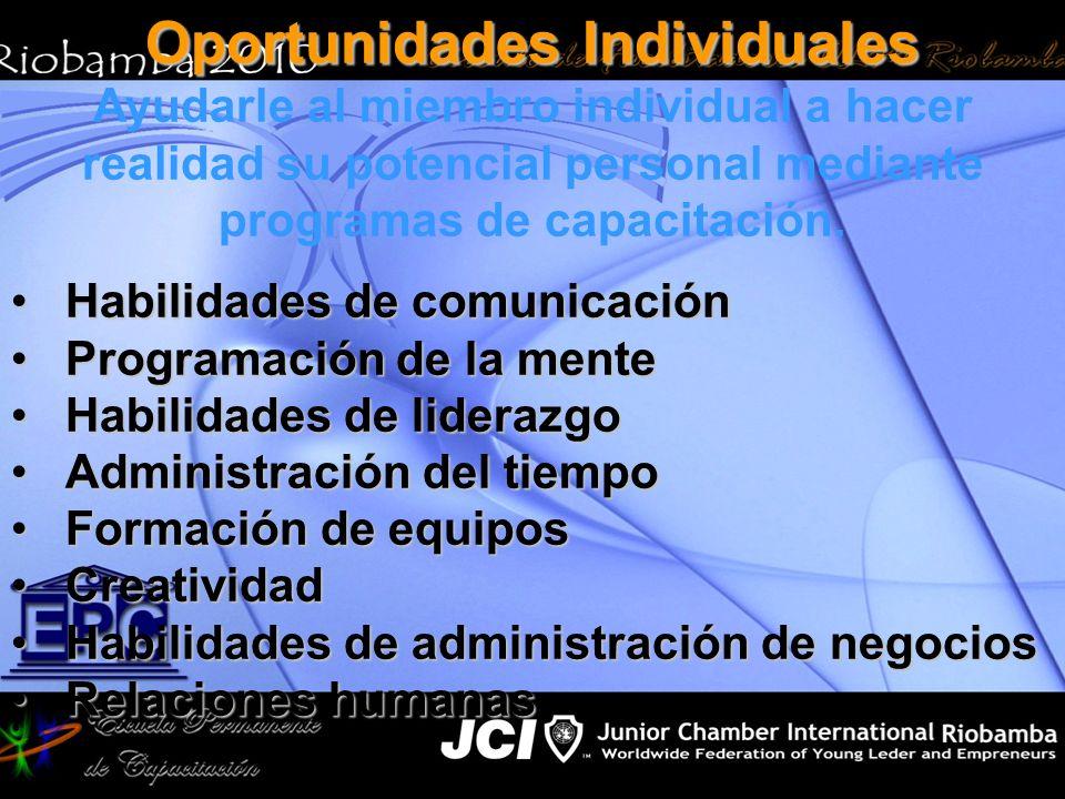 Oportunidades Individuales Ayudarle al miembro individual a hacer realidad su potencial personal mediante programas de capacitación. Habilidades de co