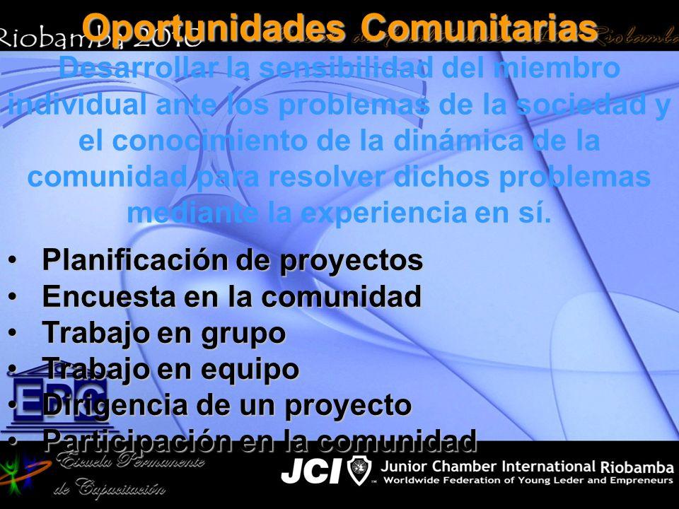 Oportunidades Comunitarias Desarrollar la sensibilidad del miembro individual ante los problemas de la sociedad y el conocimiento de la dinámica de la