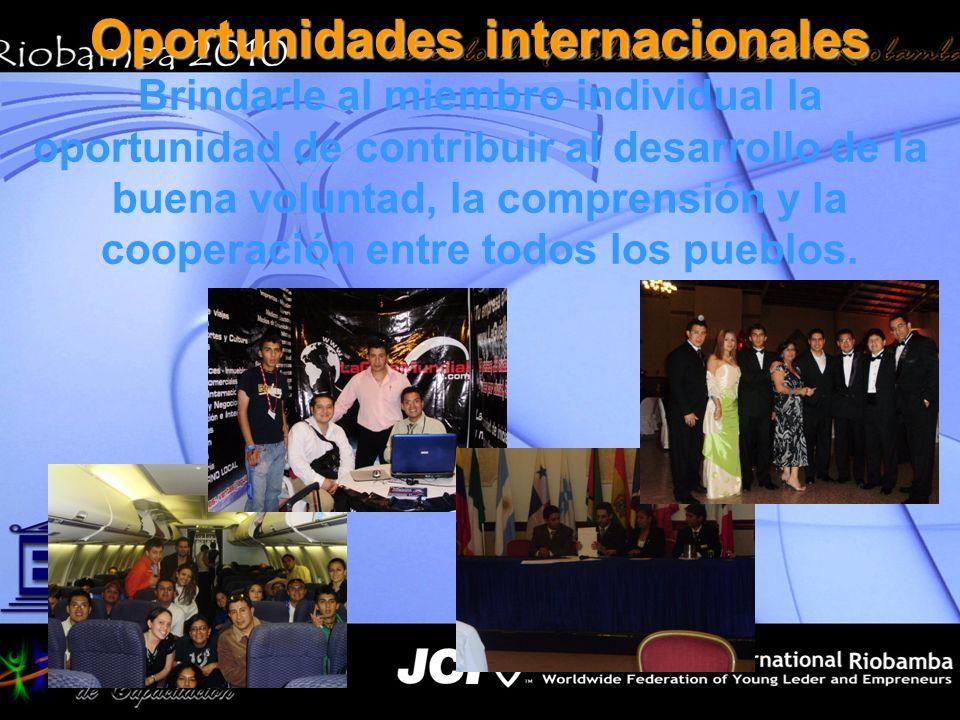 Oportunidades internacionales Brindarle al miembro individual la oportunidad de contribuir al desarrollo de la buena voluntad, la comprensión y la coo