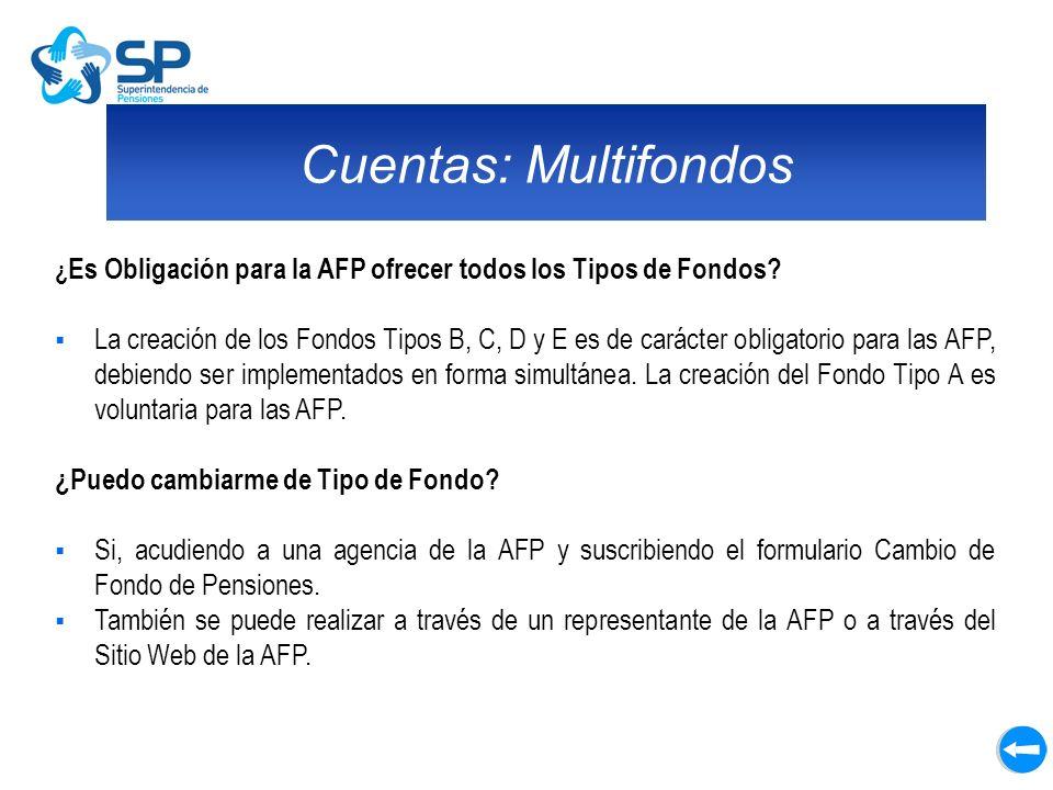 Cuentas: Multifondos ¿ Es Obligación para la AFP ofrecer todos los Tipos de Fondos? La creación de los Fondos Tipos B, C, D y E es de carácter obligat