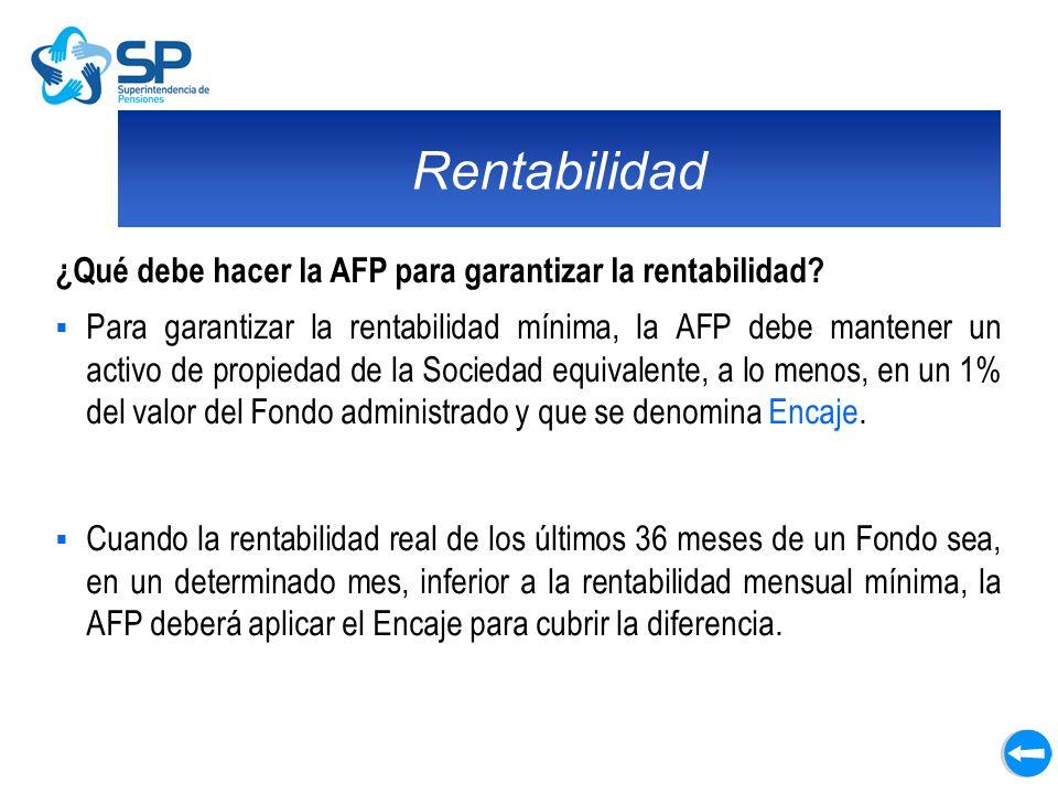 Rentabilidad ¿Qué debe hacer la AFP para garantizar la rentabilidad? Para garantizar la rentabilidad mínima, la AFP debe mantener un activo de propied