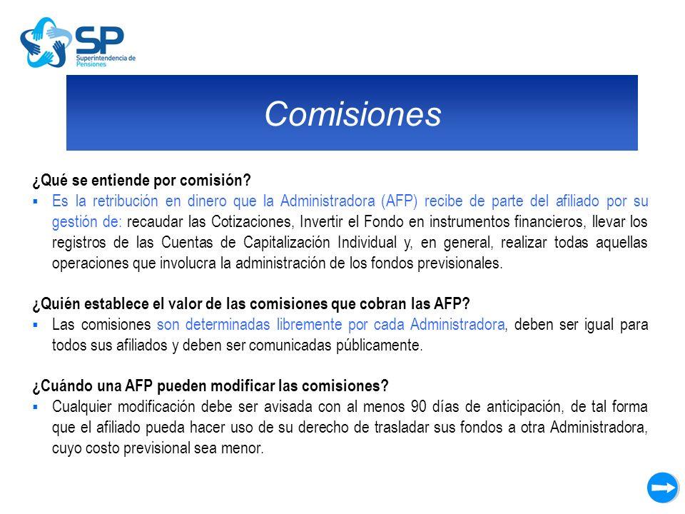 Comisiones ¿Qué se entiende por comisión? Es la retribución en dinero que la Administradora (AFP) recibe de parte del afiliado por su gestión de: reca