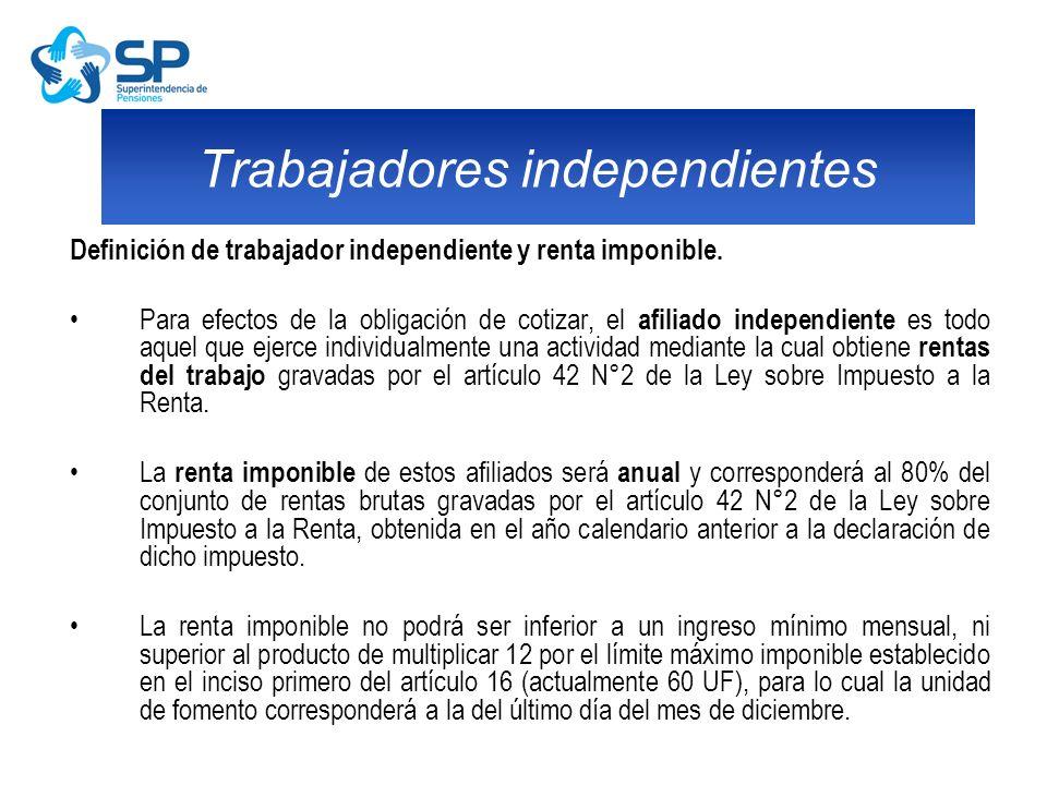 Definición de trabajador independiente y renta imponible. Para efectos de la obligación de cotizar, el afiliado independiente es todo aquel que ejerce