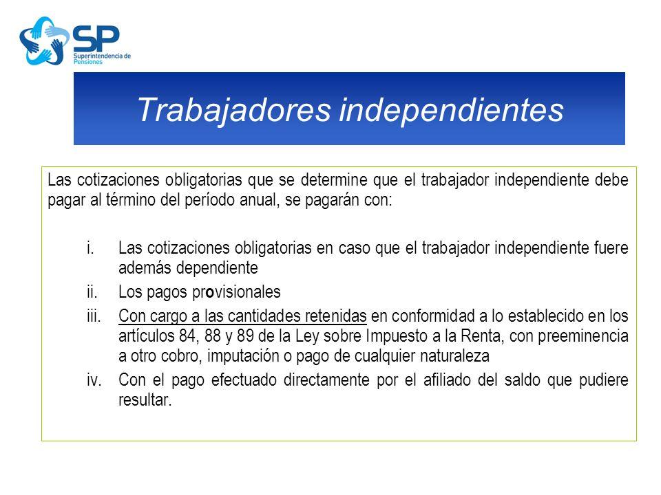Las cotizaciones obligatorias que se determine que el trabajador independiente debe pagar al término del período anual, se pagarán con: i.Las cotizaci