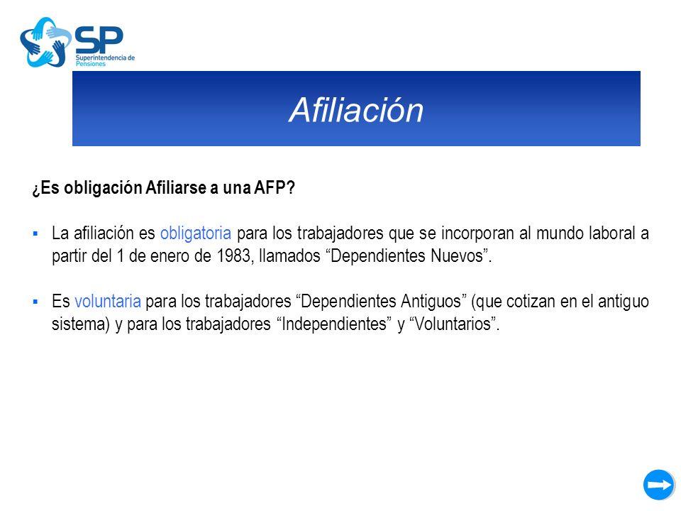 Afiliación ¿ Es obligación Afiliarse a una AFP? La afiliación es obligatoria para los trabajadores que se incorporan al mundo laboral a partir del 1 d