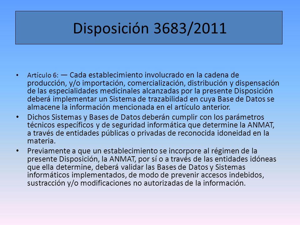 Disposición 3683/2011 Artículo 8: Serán considerados movimientos logísticos y deberán ser comunicados, sin perjuicio de otros que pudieran informarse, los que se indican a continuación: a) producto en cuarentena; b) distribución del producto a un eslabón posterior, aclarando según corresponda (distribuidora, operador logístico, droguería, farmacia, establecimiento asistencial) c) recepción del producto en el establecimiento; d) dispensación del producto al paciente; e) código deteriorado/destruido (como resultado de una baja por destrucción o rotura); f) producto robado/extraviado; g) producto vencido; h) entrega y recepción de producto como devolución; l) reingreso del producto a stock; j) producto retirado del mercado; k) producto prohibido.