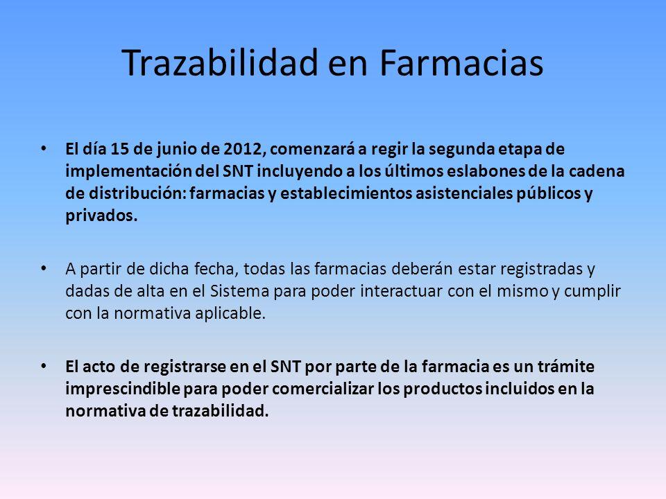 Registro de Farmacias Para ser identificado en el SNT, cada establecimiento debe contar con un código específico que lo identifica.