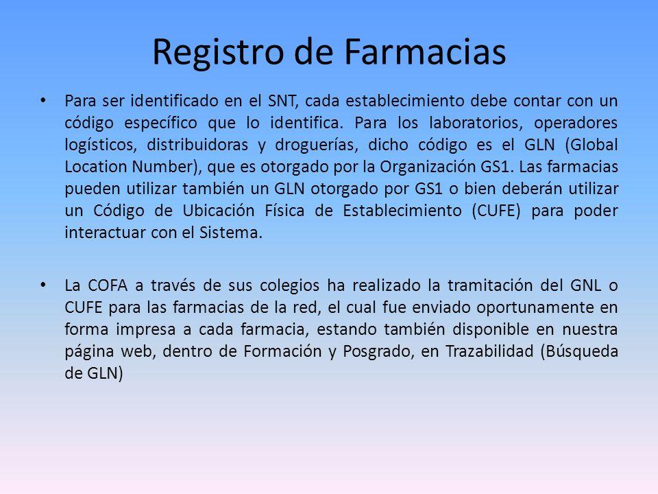 Registro de Farmacias A continuación detallaremos los pasos que deberán seguir las farmacias para su registro en el Sistema Nacional de Trazabilidad (SNT), trámite abreviado gracias a la gestión realizada por la Confederación Farmacéutica Argentina (COFA) ante la ANMAT.