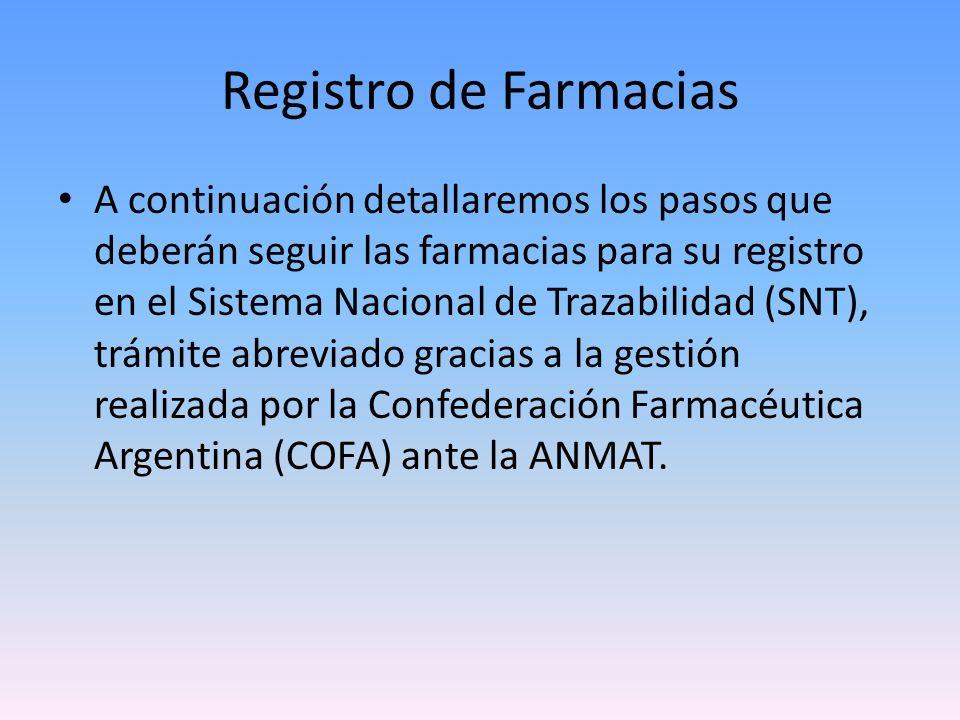 Registro de Farmacias Para ingresar al Sistema de Trazabilidad de Medicamentos (SNT), Ud.