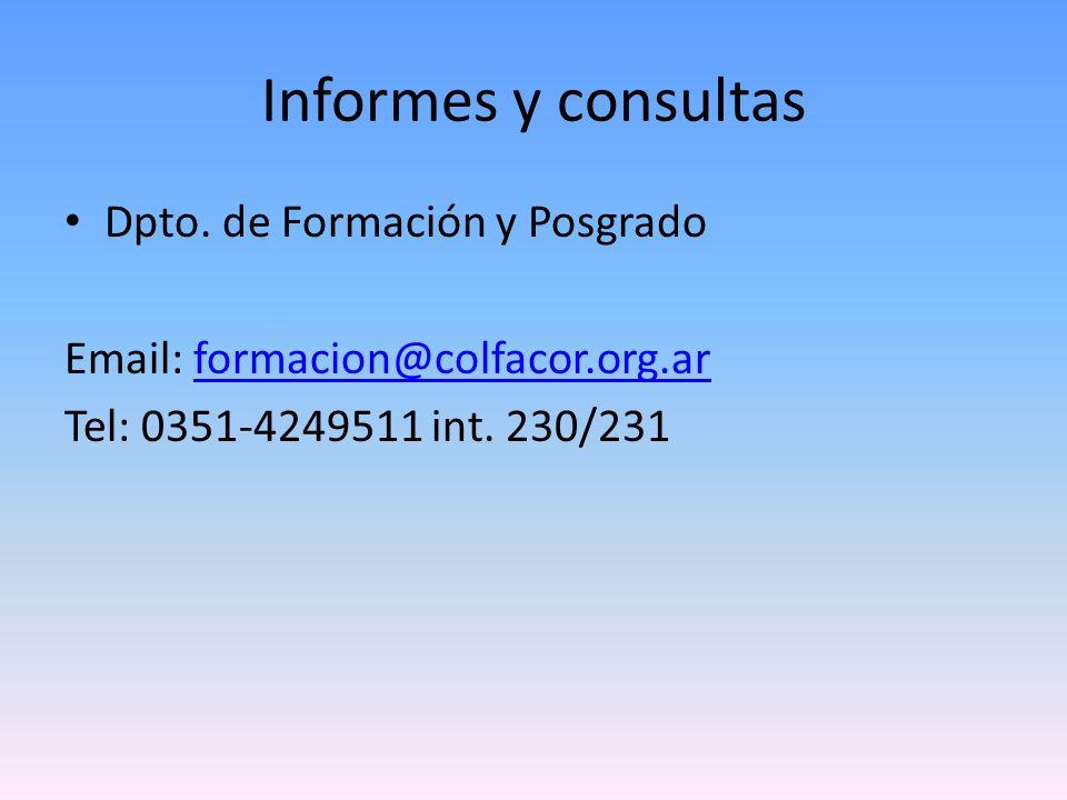 Informes y consultas Dpto.