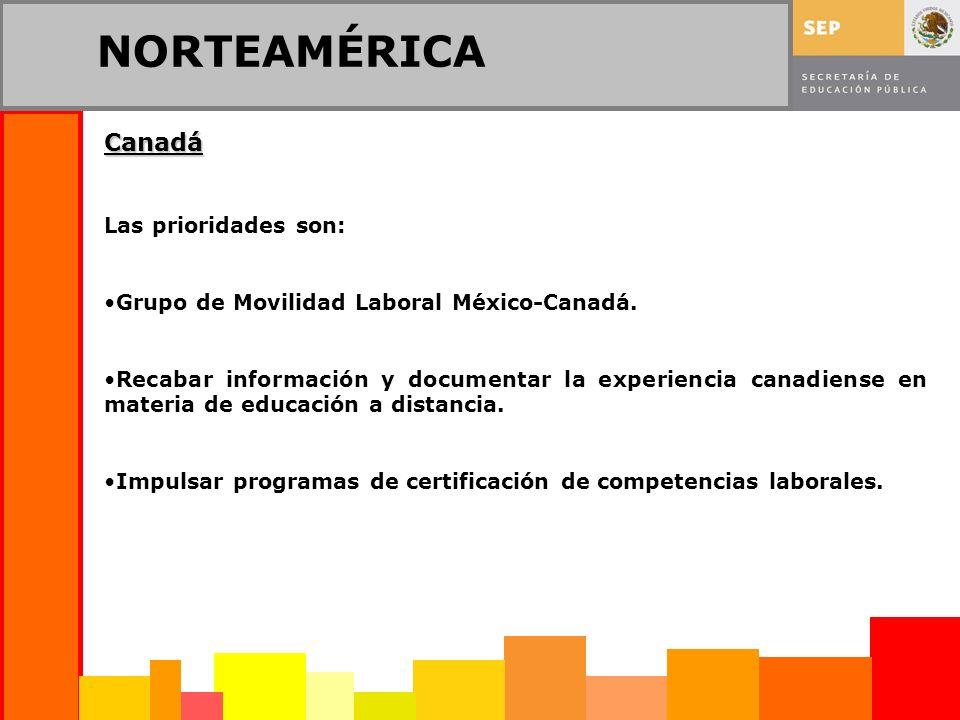 NORTEAMÉRICA Canadá Las prioridades son: Grupo de Movilidad Laboral México-Canadá. Recabar información y documentar la experiencia canadiense en mater