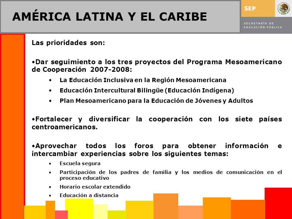 AMÉRICA LATINA Y EL CARIBE Las prioridades son: Dar seguimiento a los tres proyectos del Programa Mesoamericano de Cooperación 2007-2008: La Educación Inclusiva en la Región Mesoamericana Educación Intercultural Bilingüe (Educación Indígena) Plan Mesoamericano para la Educación de Jóvenes y Adultos Fortalecer y diversificar la cooperación con los siete países centroamericanos.