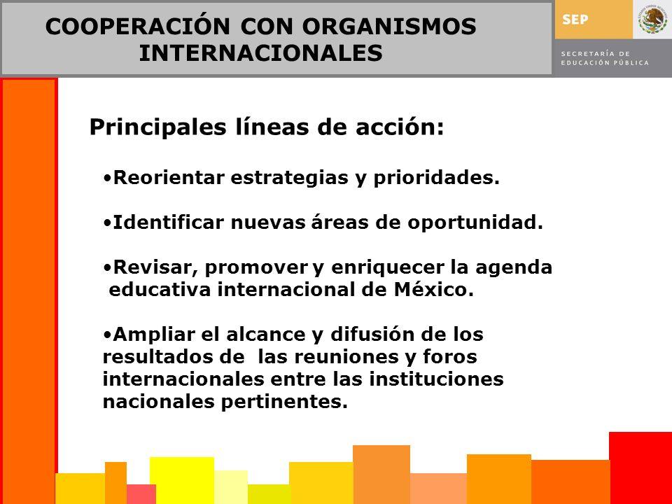 COOPERACIÓN CON ORGANISMOS INTERNACIONALES Principales líneas de acción: Reorientar estrategias y prioridades. Identificar nuevas áreas de oportunidad